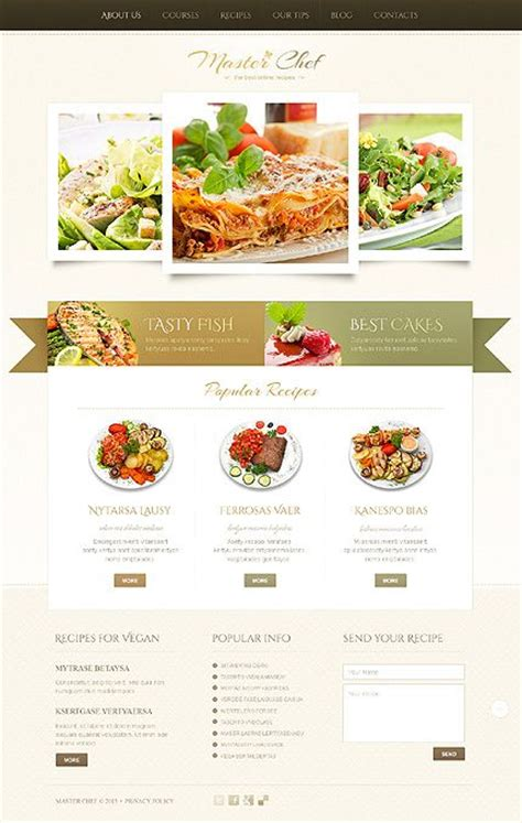 wordpress restaurant layout beige cooking wordpress theme the ribbon design and