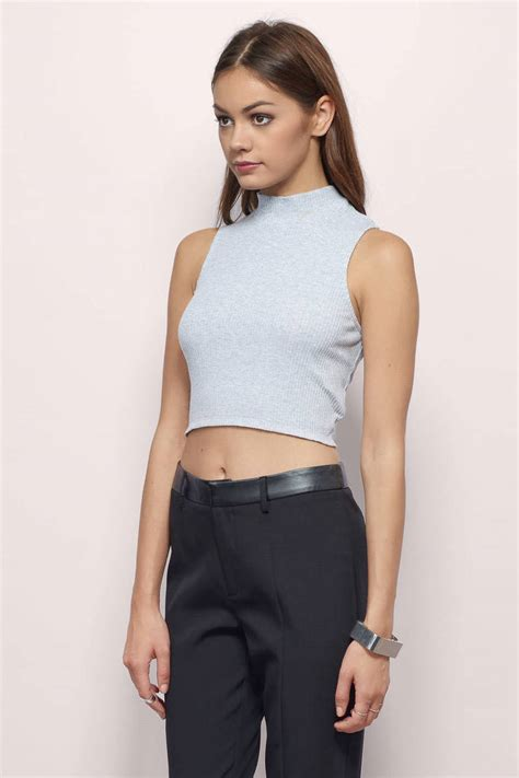 Top A Grey grey crop top grey top ribbed top 38 00