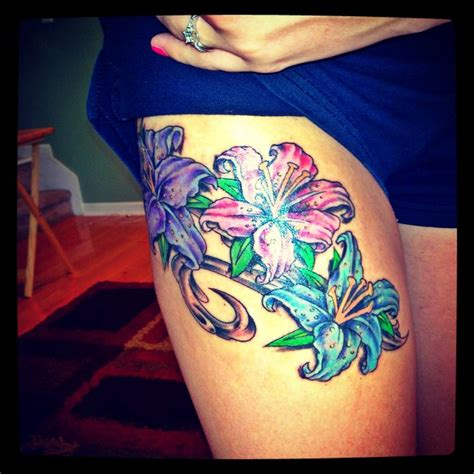 colorful thigh tattoos flower thigh