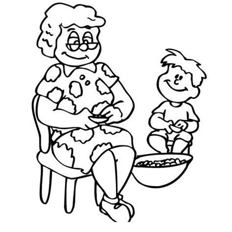 colorear abuela haciendo manualidades con sus nietos abuela para colorear imagui