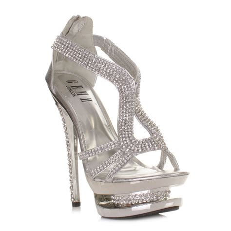 womens platform high heel diamante silver metallic strappy
