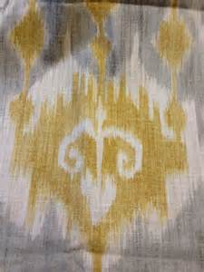 Yellow Grey Curtains Ikat Tribal Print Grey Mustard Cream Amp Ivory Linen Fabric