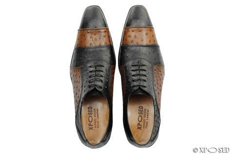 mens black brown 2 tone real leather ostrich skin look italian style dress shoes ebay