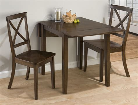 rectangular drop leaf kitchen table with high legs and 2 chairs with high back for small kitchen