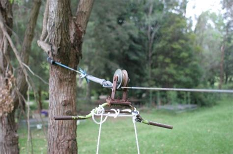 backyard zip line diy home made backyard flying fox pulley zipline from green
