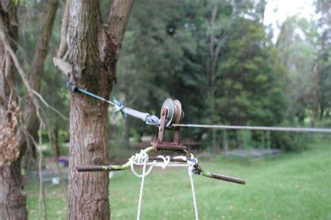 diy backyard zip line home made backyard flying fox pulley zipline from green