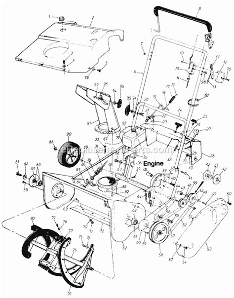 yardman snowblower parts diagram mtd 180 205 parts list and diagram 1987