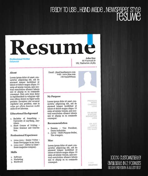 free resume templates indesign cs5 free resume template newspaper style by oldwerks on