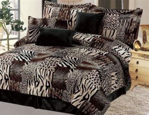 new twin full queen cal king 7 pc leopard zebra black