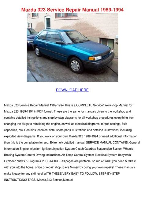 old car owners manuals 1994 mazda 323 spare parts catalogs mazda 323 service repair manual 1989 1994 by seanpackard issuu