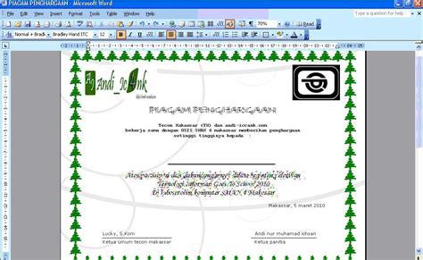 membuat garis di ms word 2003 sman 4 makassar membuat piagam penghargaan di ms word 2003