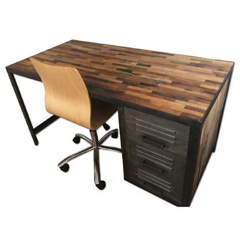 industrial metal desk chair reclaimed distressed wood industrial metal desk aptdeco