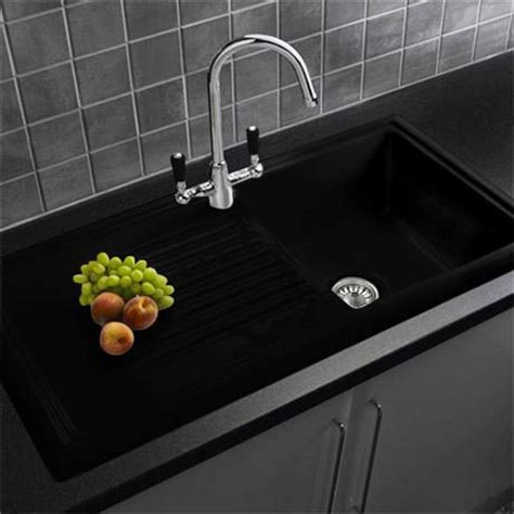 Black Ceramic Kitchen Sinks Reginox Traditional Black Ceramic 1 0 Kitchen Sink And Mixer Tap At Plumbing Uk