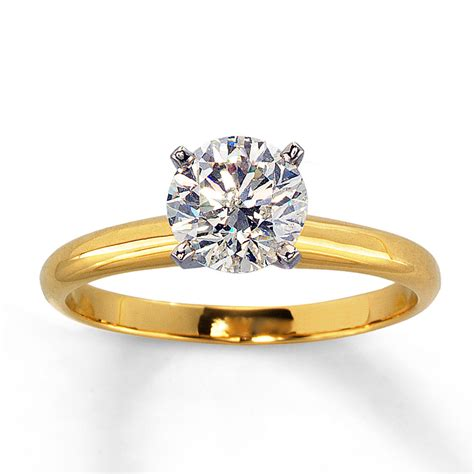 jared solitaire ring 1 carat 14k yellow gold