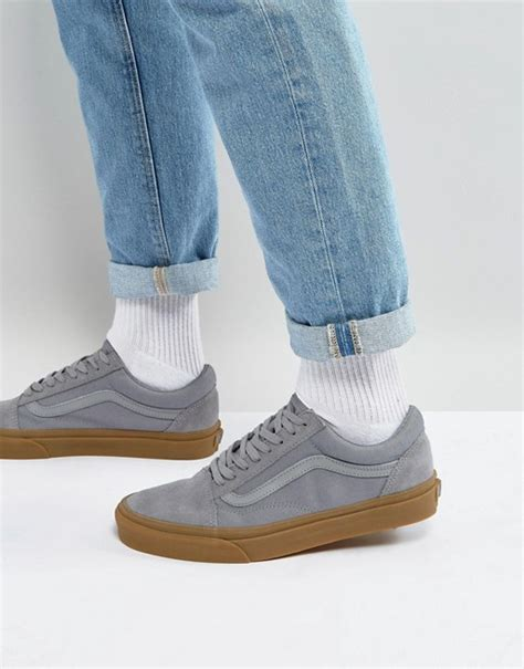 Vans Oldskool Grey Gum vans vans skool trainers with gum sole in grey va38g1po9