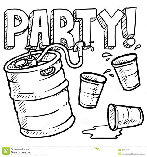 cartoon beer black and white keg party sketch royalty free stock photography image