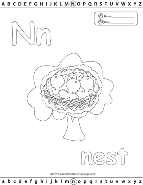 N For Nest Coloring Page by N Nest Colouring Pages