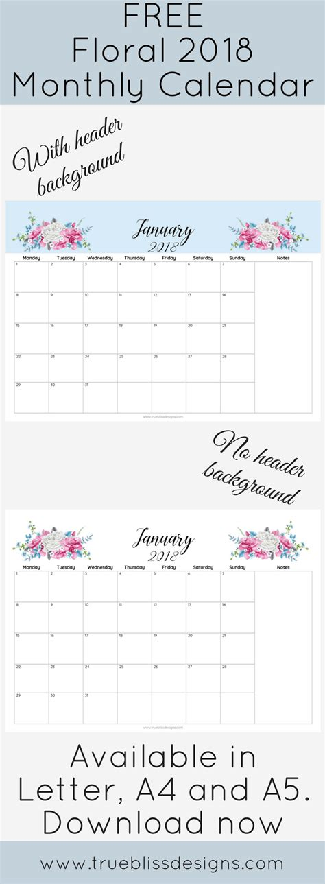 printable monthly calendar headers floral monthly calendar with and without header