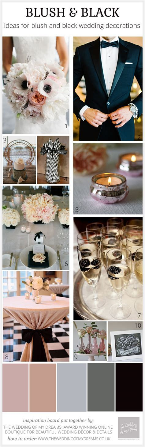 Blush Pink & Black Wedding Ideas, Decorations and Inspiration