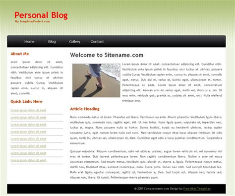 free personal website templates html css templates free css personal template