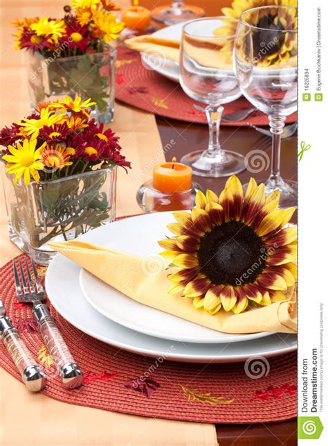 fall themed dinner fall theme dinner table set stock images image 16225894