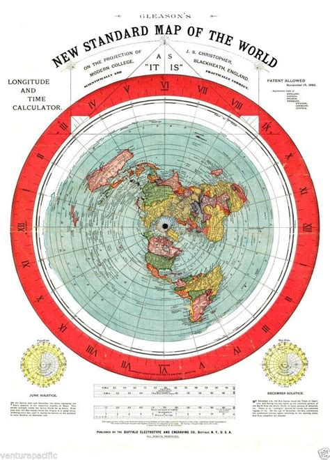 standard map gleason s new standard map of the world flat earth