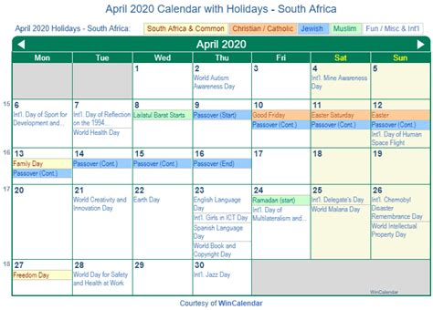 print friendly april  south africa calendar  printing