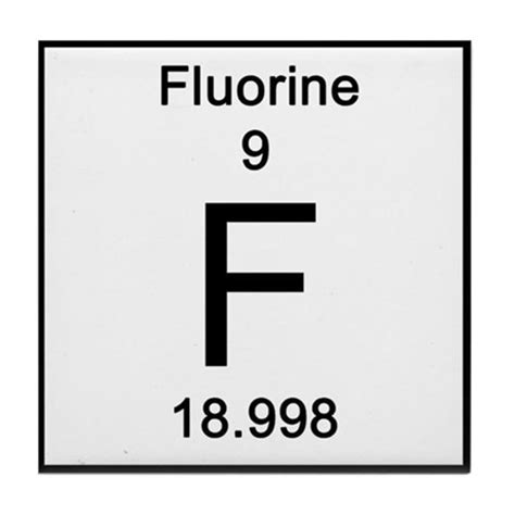 Fluorine Periodic Table by Periodic Table Fluorine Tile Coaster By Science Lady