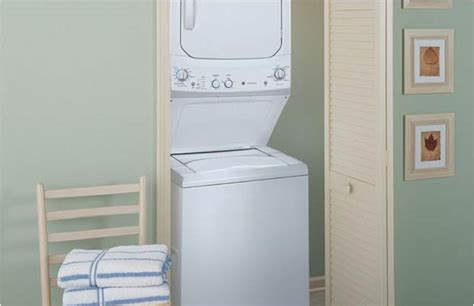 ge spacemaker washer and electric dryer in white