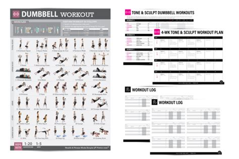 dumbbell exercise poster 4 week workout plan for