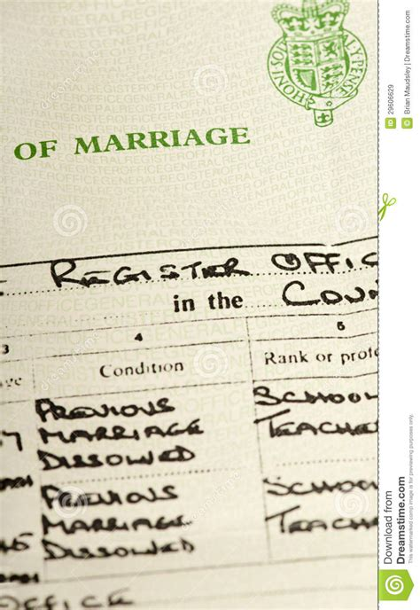 Searching For Marriage Records Free Marriage Certificate Royalty Free Stock Photo
