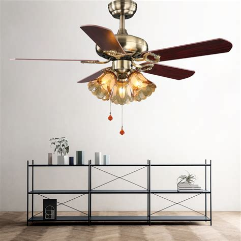 42inch European Style Retro Ceiling Fan L Bedroom Living Room Ceiling Fans With Lights