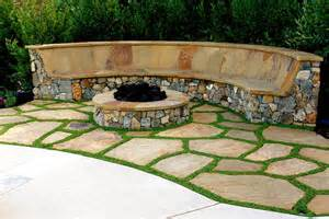 curved fire pit bench with back fire pit design ideas
