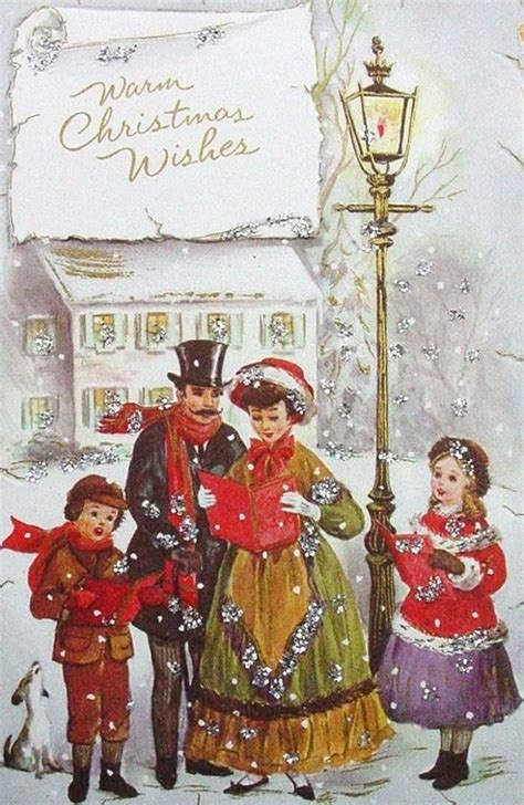 images  holiday carolers  pinterest vintage greeting cards cards  merry