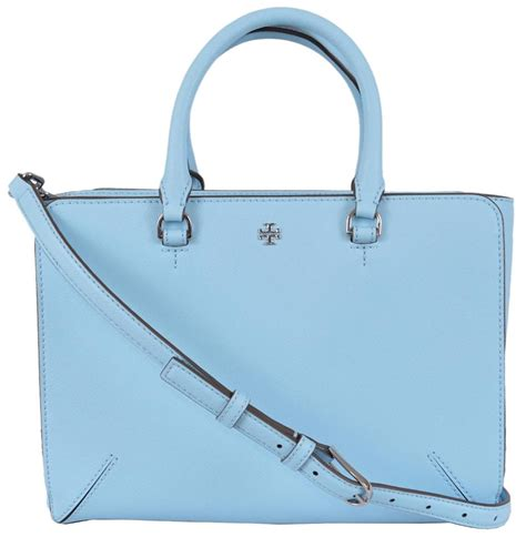 burch light blue bag burch blue leather robinson small zip convertible