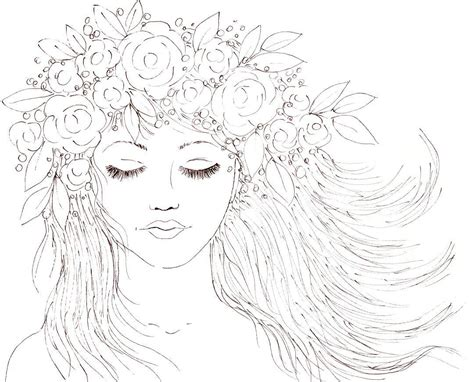 flower crown coloring page boho girl with a crown of flowers in her hair youtube