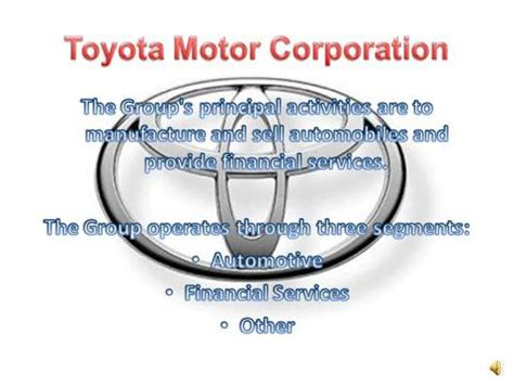 toyota motor corporation toyota motor corporation authorstream