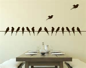 Wall Stickers Branches wall decal birds on wire vinyl wall decal