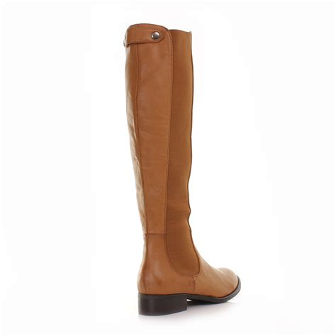 womens leather style knee high flat chelsea