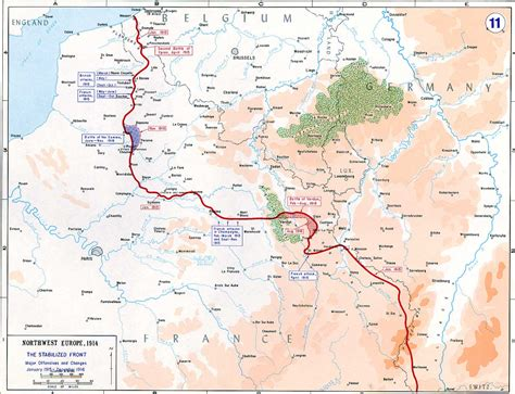 Map of Western Front in World War 1 1915