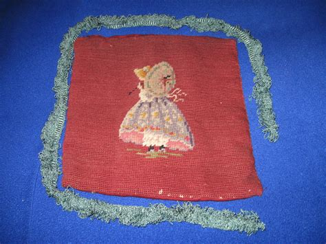 handmade antique needlepoint pillow cover vintage