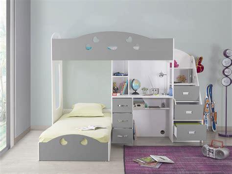lit a etage avec bureau lit superpos 233 avec rangements et bureau 90x190cm combal