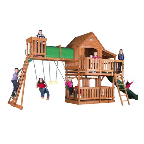 playset swing set shop backyard discovery woodridge ii residential wood