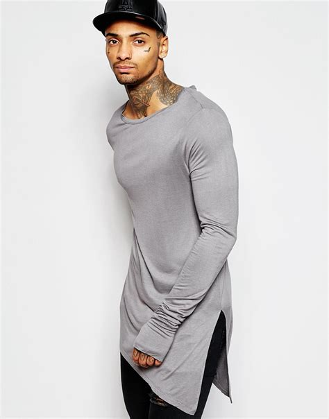 Hem Two Tone Grey lyst asos bamboo jersey longline sleeve t shirt with asymmetric hem in gray for