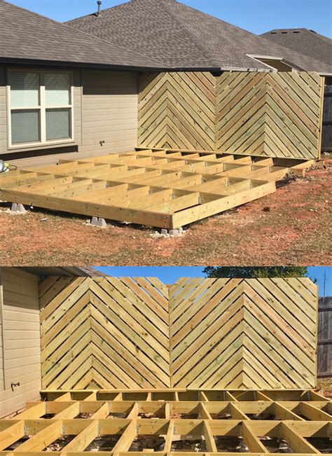 diy floating deck phase  chevron privacy wall