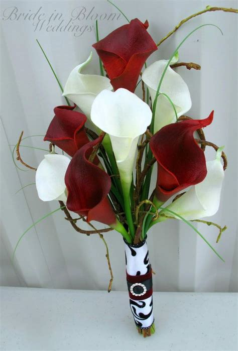 wedding bouquet real touch red white calla lily bridesmaid bouquet red wedding wedding and flower