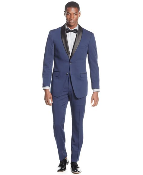 perry ellis navy solid slim fit tuxedo in for men