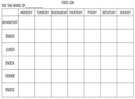 food record chart template weekly food log printables by me w c
