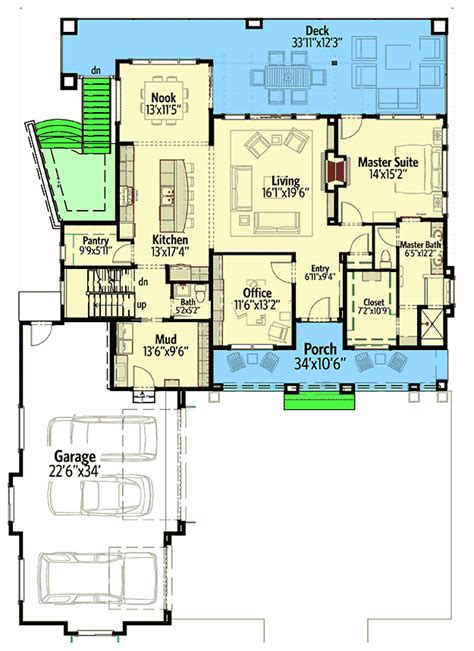 house plans for sloping lots in the rear house plan for a rear sloping lot 64452sc
