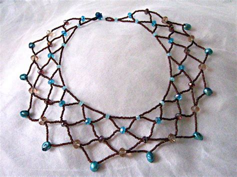 how to make bead jewelry patterns beaded lace necklace tutorial
